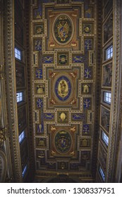 ROME, ITALY - 18 JANUARY 2019: The Immaculate Conception as the central motive on flat coffered wooden ceiling (1592 - 1594) in church Chiesa San Marcello al Corso designed by Carlo Francesco Lambardi