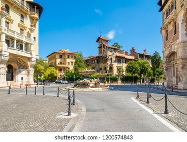 Rome, Italy - 19 August 2018 - The esoteric quarter of Rome, called 'Quartiere Coppedè', designed by architect Gino Coppedè consisting of eighteen palaces and twenty-seven buildings rich in symbologie