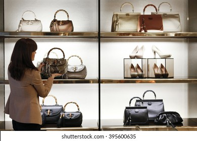 ROME, ITALY - 19 NOVEMBER 2012: Gucci luxury bags sit displayed for sale inside a Gucci store.