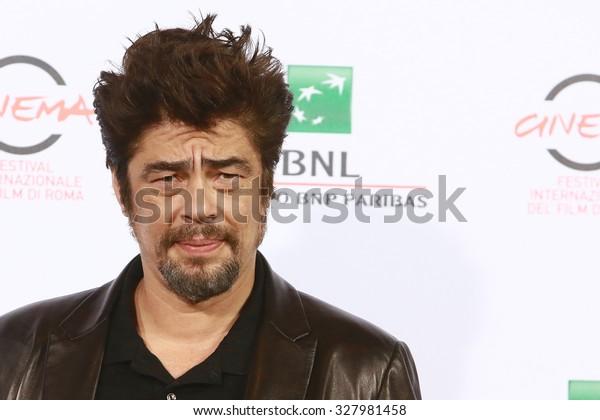ROME, ITALY - 19 October 2014: Actor Benicio del Toro: Photocall during the 9th Rome Film Festival