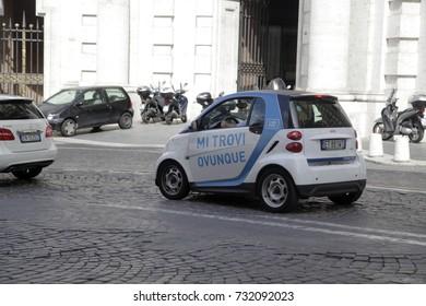 ROME, ITALY - 19 SEPTEMBER 2017: Smart city, Car2Go, car sharing runs through the streets of Rome, Italy