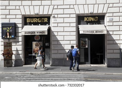 ROME, ITALY - 19 SEPTEMBER 2017: Burger King entrance fast food hot table in downtown Rome, Italy.