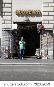 ROME, ITALY - 19 SEPTEMBER 2017: Entrance Souvenir store sells memories of Rome, Italy.