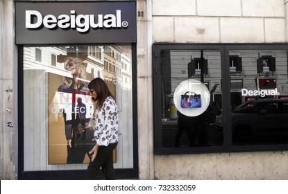ROME, ITALY - 19 SEPTEMBER 2017: Desigual fashion shop store window entrance, Rome shopping street, Italy.