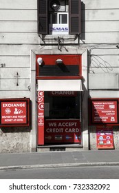 ROME, ITALY - 19 SEPTEMBER 2017: ATM and Money Exchange shop, in downtown Rome, Italy.