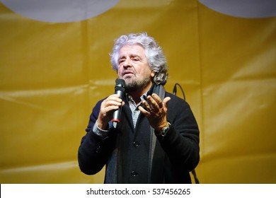 ROME, ITALY - 2 december 2016: Beppe Grillo, speaks about referendum to change the Italian Constitution