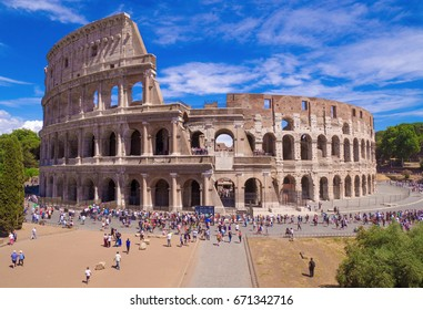 ROME, ITALY - 2 JULY 2017 - The archeological ruins with Colosseum in historic center of Rome, named Imperial Fora.
