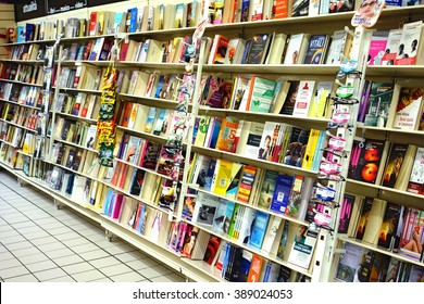 Rome, Italy - 2013 October: Shelves full of books in bookshop in Torvergata shopping mall in Rome, Italy