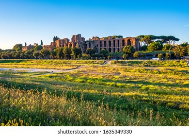 Rome, Italy - 2019/06/16: Panoramic view of the ancient roman arena Circus Maximus - Circo Massimo - with the Palatine Hill in the background