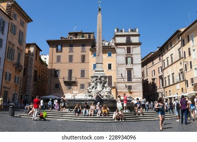ROME, ITALY: 20th of August 2014: Piazza della Rotonda near the Pantheon on 20th of August 2014 in ROME, ITALY