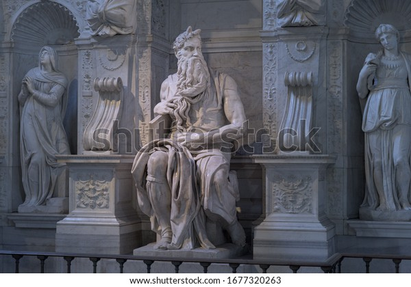 ROME, ITALY - 21 Jan 2020: Detail of the altar sculpture group of prophet Moses, famous sculpture by Renaissance artist Michelangelo for the church of San Pietro in Vincoli in Rome, Italy