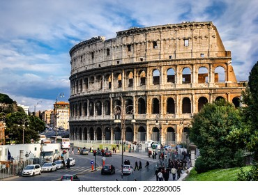 ROME, ITALY - 21 MARCH 2009: Image with Colosseum, ruins of Rome greatest amphitheater, Colosseum, built in 72AD by Vespasian for gladiatorial combats and wild animal fights.