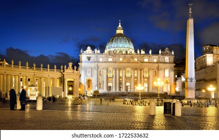 Rome, Italy - 21/02/2013: St. Peter's square and St. Peter's Basilica at night in Vatican City.