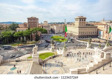 Rome, Italy - 22.06.2018: View of Venice Square (Piazza Venezia). Piazza Venezia is located in heart of Rome. Palazzo Venezia, Vittoriano Monument.