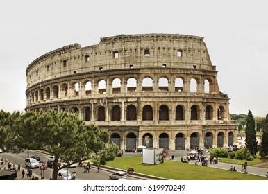 ROME. ITALY. 23 APRIL 2009 : Colosseum  (Coliseum) - Flavian Amphitheatre in Rome. Italy