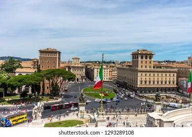 Rome, Italy - 23 june 2018: Piazza Venezia, Altare della Patria, Facade of tomb of the unknown soldier in Rome,Italy