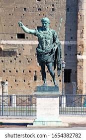 ROME / ITALY  - 25 of February 2010 : The bronze statue of emperor Caesar Augustus on Via dei Fori Imperiali, Rome, Italy. Sunny day