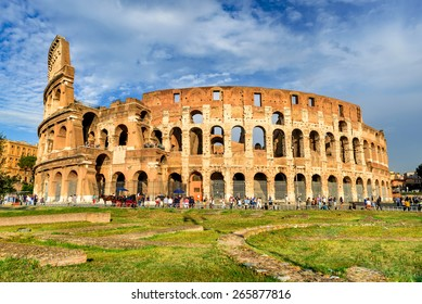 ROME, ITALY - 25 SEPTEMBER 2014: Colosseum spectacular view. Coliseum elliptical largest amphitheatre of Roman Empire ancient civilization in Rome, Italy.
