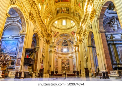 ROME, ITALY - 26 September 2014: Church Sant'Andrea della Valle, Piazza Vidoni, built in Baroque style, 1608 AD. Rome, Italy.