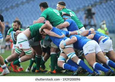 Rome, Italy - 28 february 2021: IRLAND AND ITALY DURING SCRUM in  the 2021 Guinness Six Nations Match between Italy and Ireland at olympic stadium in Rome.