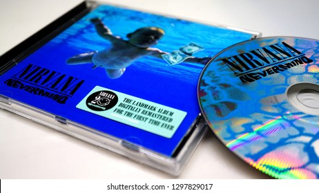 Rome, Italy: 28 January 2019: CD album of the famous American group NIRVANA. detail of the NEVERMIND ARTWORK-selective focus