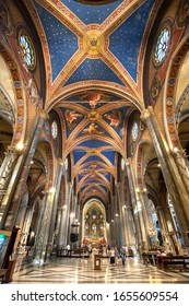 ROME, ITALY - 28 JUNE, 2017 - Blue and gold-painted ceiling in the nave of the Santa Maria sopra Minerva basilica, Rome.