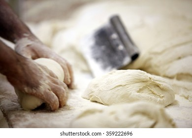ROME, ITALY - 28 NOVEMBER 2011: A baker kneads dough by hand to make bread at a bakery in Rome.