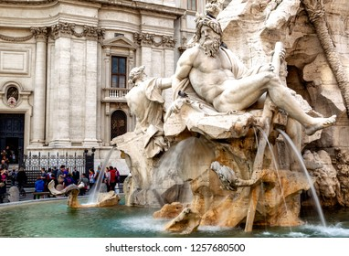 Rome, Italy - 29 October, 2014: Fontana dei Quattro Fiumi (Fountain of the Four Rivers) in the Piazza Navona in Rome.