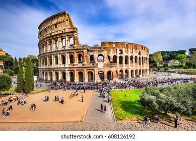 ROME, ITALY - 3 APRIL 2016: Colosseum (Coliseum), the amphiteatre for gladiators fights in Ancient Rome, Roman Empire.