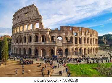 ROME, ITALY - 3 DECEMBER 2017 - The archeological ruins in historic center of Rome, named Imperial Fora. Here the Colosseum.