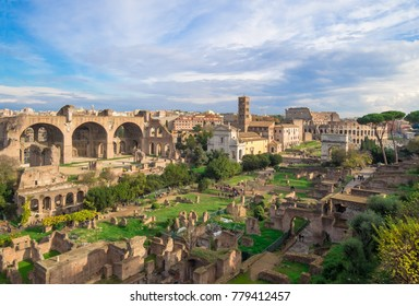 ROME, ITALY - 3 DECEMBER 2017 - The archeological ruins with Colosseum in historic center of Rome, named Imperial Fora. Here in particular the Foro Romano on Palatino hill.