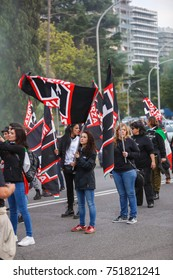 """Rome, Italy 4 November 2017. Demonstration of the political movement called """"Forza Nuova"""" held in Rome in the EUR zone on 04 November 2017."""