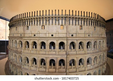 Rome, Italy - 7 April 2019: Capture the view of the model of Colosseum