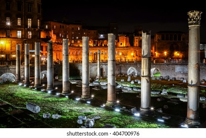 Rome, Italy - 8 February 2016: The Roman Triumphal Columns in Trajan Forum.