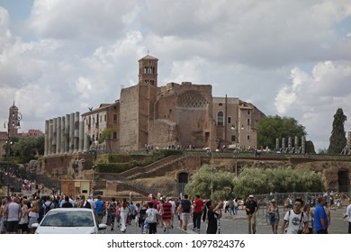 ROME, ITALY - 9  SEPTEMBER 2017: The Temple of Venus and Roma maybe the largest temple ancient Rome. Located on the Velian Hill, between the Roman Forum and the Colosseum