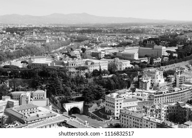 Rome, Italy. Aerial view with famous Janiculum hill and Rome Botanical Garden. Black and white vintage style.