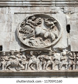 Rome, Italy. Ancient triumphal arch - detail bas relief art at Arch of Constantine.