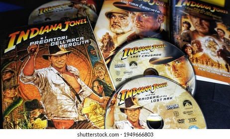 Rome, Italy - April 01, 2021, Indiana Jones: Raiders of the Lost Ark, Indiana Jones and the Temple of Doom, Indiana Jones and the Last Crusade, Indiana Jones and the Kingdom of the Crystal Skull.