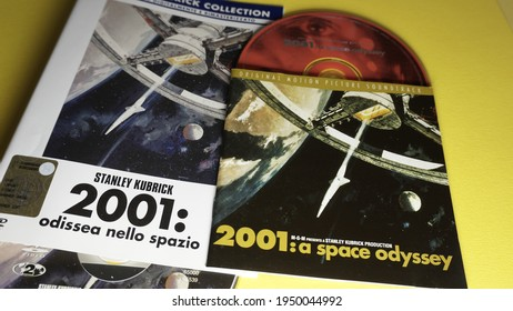 Rome, Italy - April 05, 2021, 2001: A Space Odyssey, 1968 film produced and directed by Stanley Kubrick, co-written with Arthur C. Clarke who produced the story.