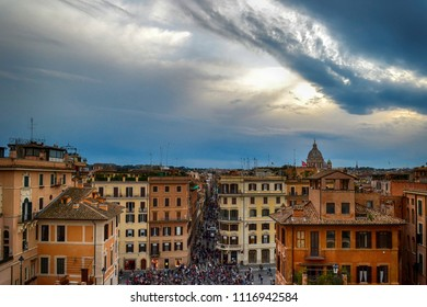 Rome, Italy - April, 08, 2018: View from the Spanish Steps to the beautiful ancient Rome city at evening.