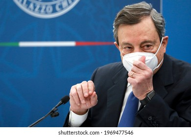 Rome, Italy - April 08, 2021: Mario Draghi, Italy's prime minister, wears a protective face mask during a news conference in Rome.