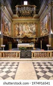 ROME, ITALY - APRIL 10, 2012: Interior view of Church of Saint Jerome of the Croats in Rome, Italy. Italian language name: San Girolamo dei Croati.