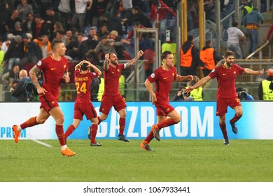 ROME, ITALY - APRIL 10,2018: Celebration after the score Manolas 3-0  during football match UEFA Champions League football, quarter final, second leg; AS Roma versus FC Barcelona at the Olimpic Stadio