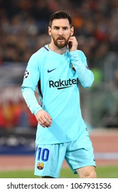 ROME, ITALY - APRIL 10,2018: Lionel Messi during fotball match UEFA Champions League football, quarter final, second leg; AS Roma versus FC Barcelona;  at the Olimpic Stadium in Rome.