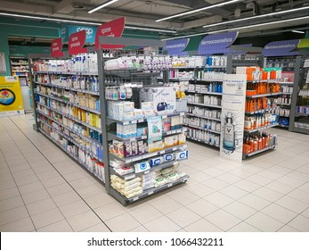 ROME, ITALY. April 11, 2018: Shelves of the pharmaceutical department inside a shopping center in Rome in Italy. Highlights products for personal hygiene and dermocosmetics.