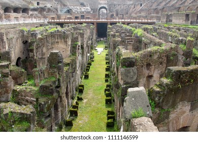 ROME, ITALY -APRIL 12, 2010: Underground of the Colosseum, the oval amphitheater used for gladiatorial contests and battles