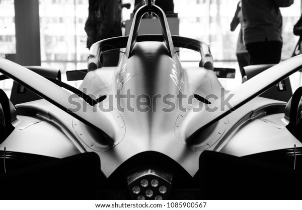 Rome, Italy. April 14, 2018. Rear photograph of a Formula E electric car. Black and white image