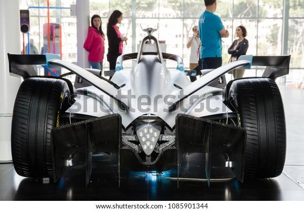 Rome, Italy. April 14, 2018. Rear photograph of a Formula E electric car.
