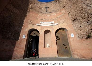 Rome, Italy, April 16, 2015. Basilica of St. Maria degli Angeli and dei Martiri