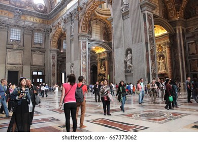 Rome, Italy - April 17, 2015: Vatican Museums and Sistine Chapel center of architecture and art at Rome, Italy
